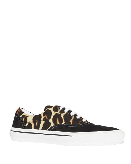 Burberry Men's Leopard-Print Canvas & Suede Sneakers