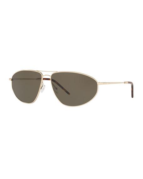 Oliver Peoples Men's Kallan Angular Aviator Sunglasses