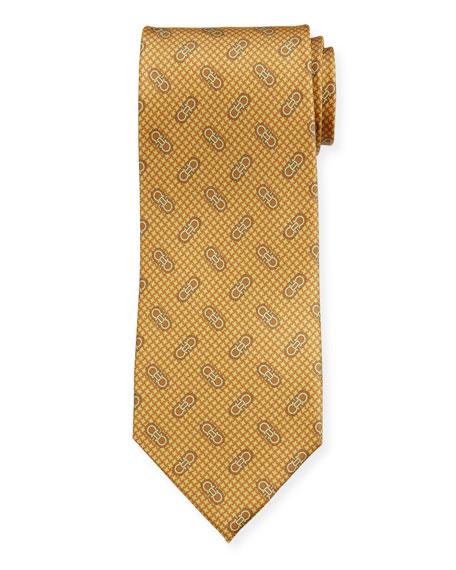 Salvatore Ferragamo Men's Vintage Gancini Silk Tie, Yellow