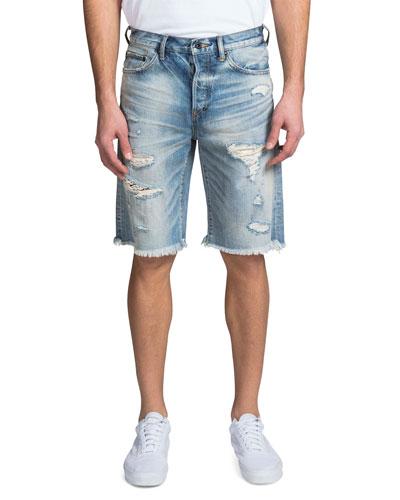 Men's Shredded Denim Shorts