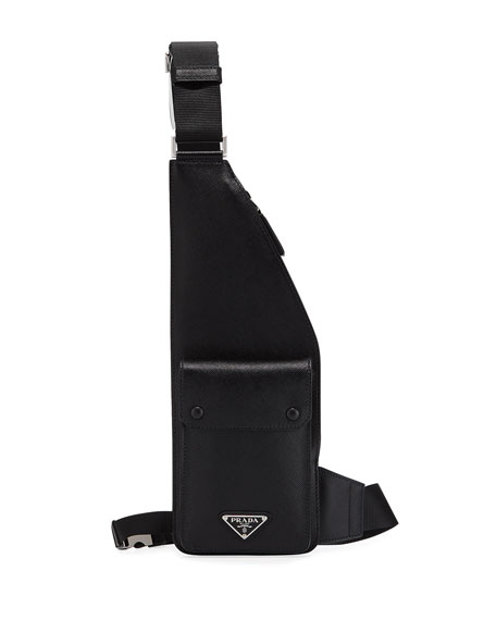 Prada Men's Saffiano Leather Multi-Strap Crossbody Bag