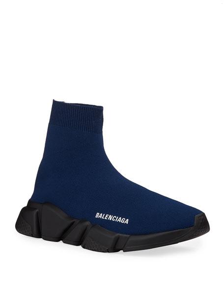 Balenciaga Men's High-Top Knit Sock Sneakers