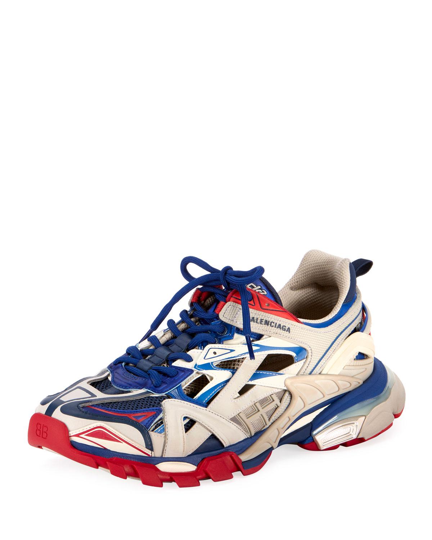 Balenciaga Men S Track 2 Colorblock Sneakers Neiman Marcus