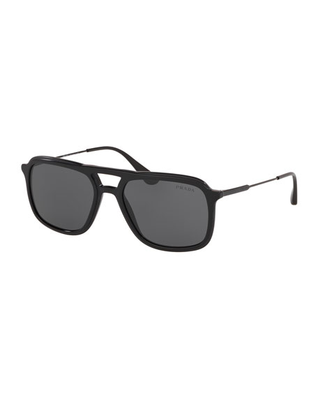 Image 1 of 2: Men's Square Retro Acetate Sunglasses