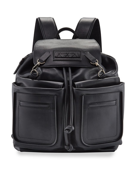 Image 1 of 3: Ermenegildo Zegna Men's Lanificio Leather Backpack