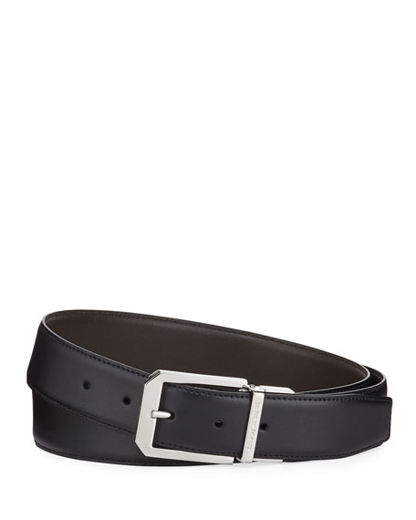 Ermenegildo Zegna Men's Square-Buckle Leather Belt
