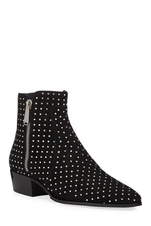 Balmain Men's Goat Suede Studded Ankle Boots
