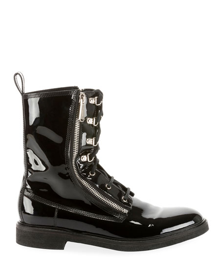 Balmain Men's Patent Leather Melvin Combat Boot