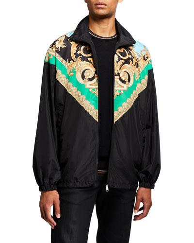 Men's Classical Print Wind-Resistant Jacket