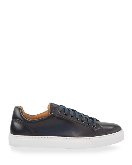 Magnanni Men's Napa Leather Low-Top Sneakers