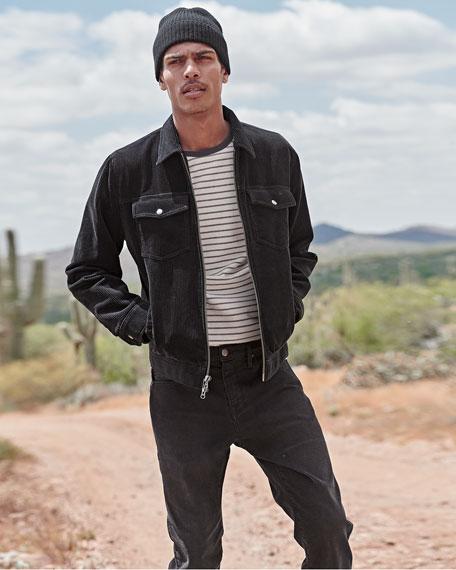 FRAME Men's Corduroy Zip-Front Trucker Jacket