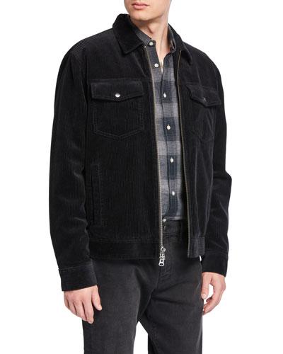 Men's Corduroy Zip-Front Trucker Jacket