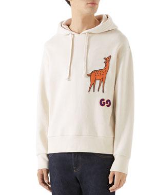 27d609982b3b Gucci Men's Deer-Applique Pullover Hoodie
