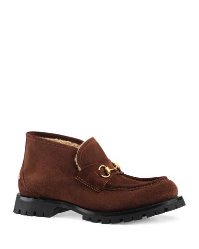 Men's Django Suede/Wool Horsebit Booties
