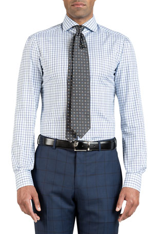 Isaia Men's Grid Check Cotton Dress Shirt