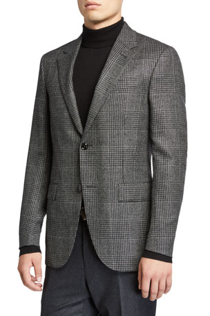 Ermenegildo Zegna Men's Prince of Wales Check Cashmere Sport Regular-Fit Jacket