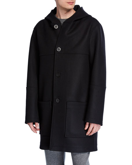 Vince Men's Hooded Wool Duffle Coat