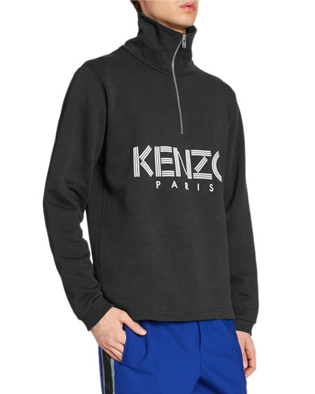 Kenzo Men's Logo-Print Quarter-Zip Sweater