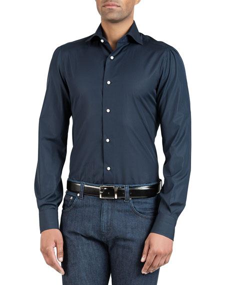 Isaia Men's Solid Poplin Dress Shirt