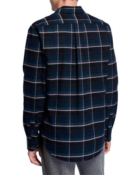 Vince Men's Windowpane Plaid Sport Shirt