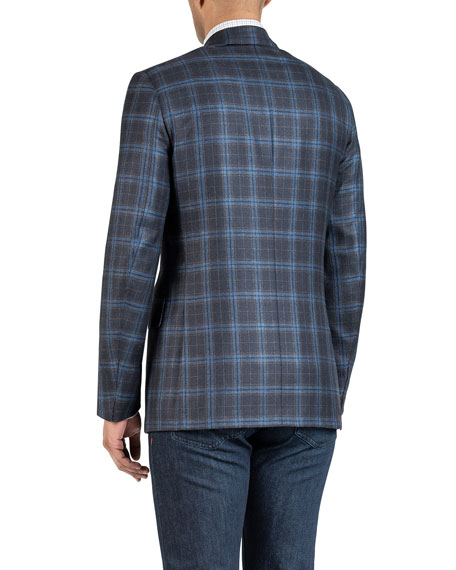 Isaia Men's Two-Tone Plaid Jacket