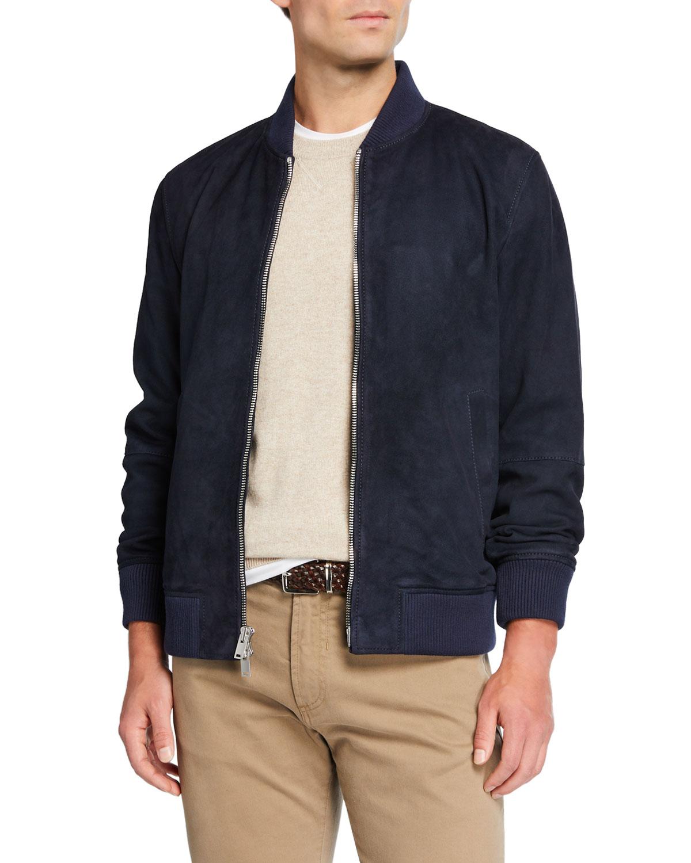 mens-suede-zip-front-bomber-jacket by neiman-marcus
