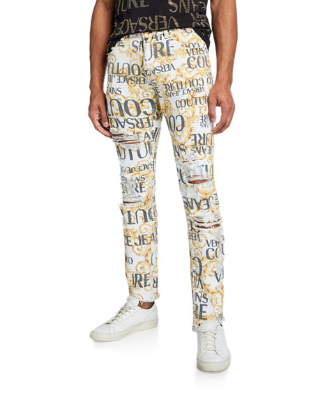 Versace Jeans Couture Men's Logo Baroque-Print Distressed Jeans
