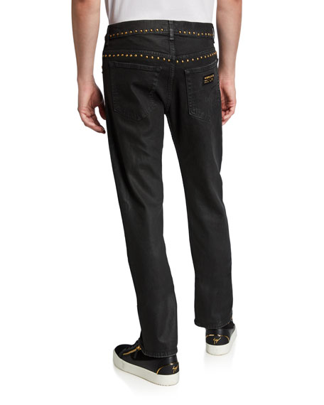 Versace Jeans Couture Men's Slim Coated Jeans with Studs