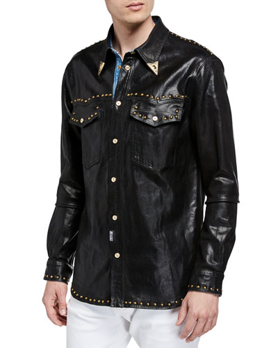 Men's Stud-Trim Coated Denim Western Shirt