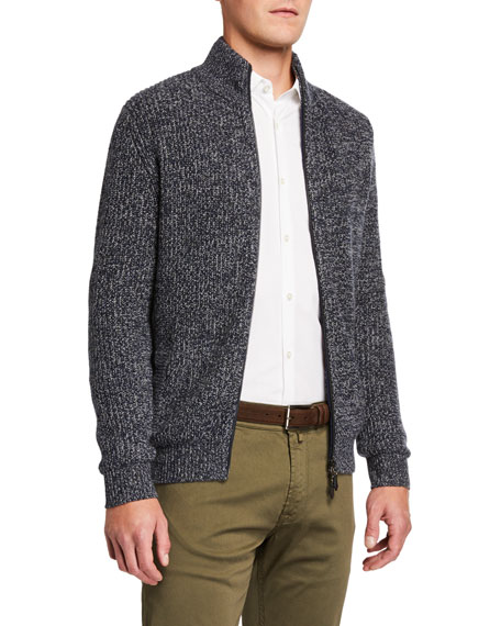 Neiman Marcus Men's Melange Cashmere Full-Zip Sweater