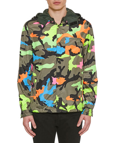 Men's Neon Camo Wind-Resistant Jacket