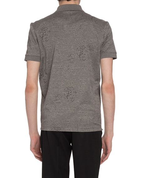 Berluti Men's Scritto-Print Polo Shirt, Gray