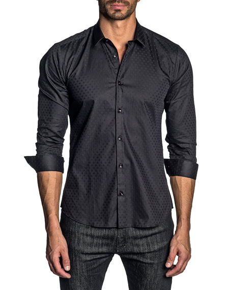 Jared Lang Men's Long-Sleeve Solid Jacquard Sport Shirt