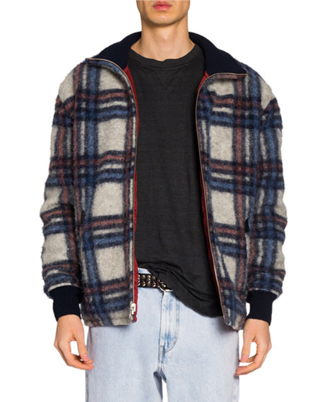 Isabel Marant Men's Plaid Wool Bomber Jacket
