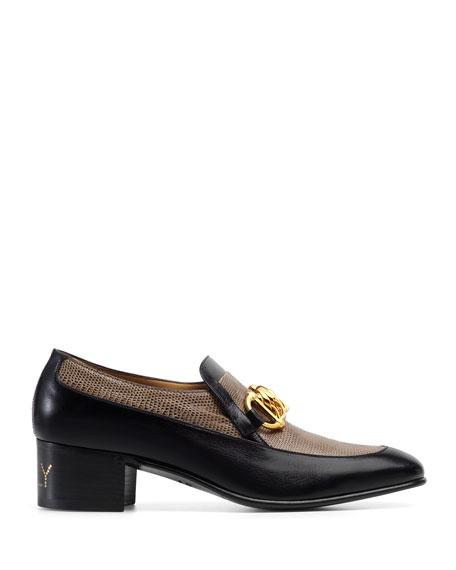 Gucci Men's Ebal Horsebit Leather & Lizard Loafers