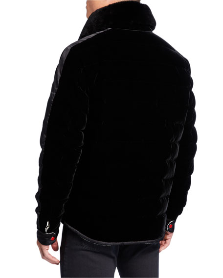 Kiton Men's Reversible Velvet Top Coat w/ Fur Trim