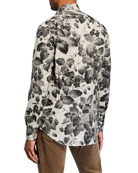 Etro Men's Digital Floral-Print Stretch-Cotton Sport Shirt