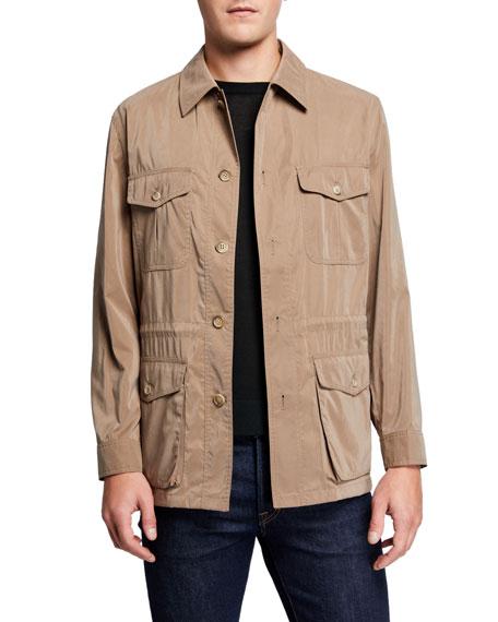 Neiman Marcus Jackets Men's Belseta Button-Front Field Jacket