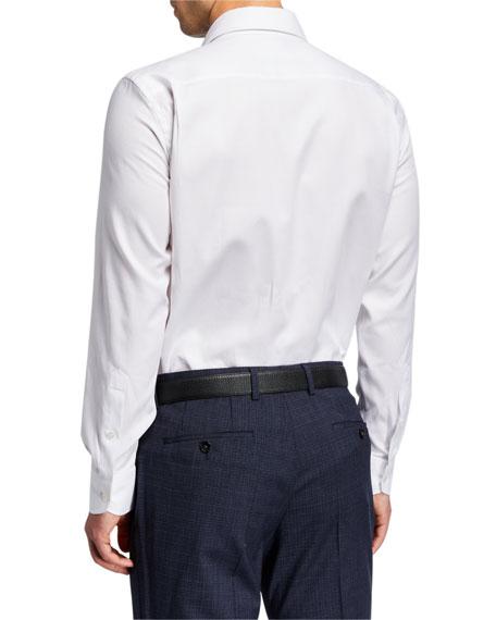 Neiman Marcus Men's Solid Cotton Pointed-Collar Dress Shirt
