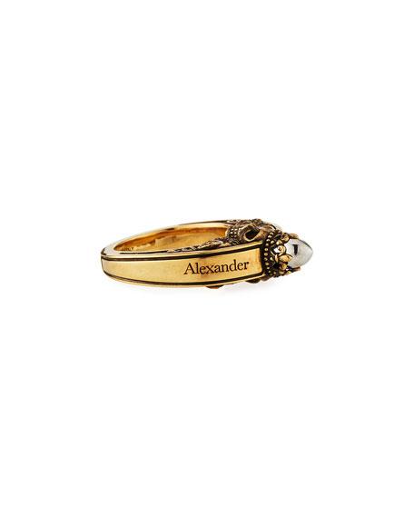 Alexander McQueen Men's Engraved Skull Ring, Size 9-10