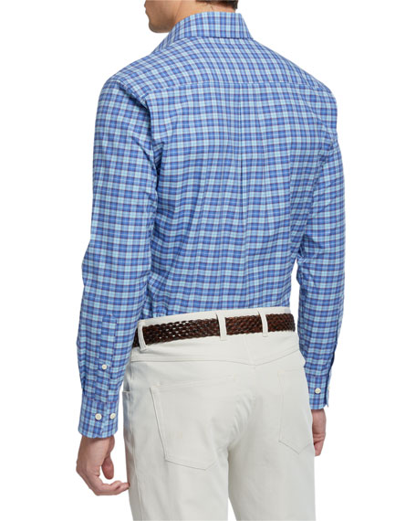 Image 3 of 4: Peter Millar Men's Finish Stretch Plaid Sport Shirt