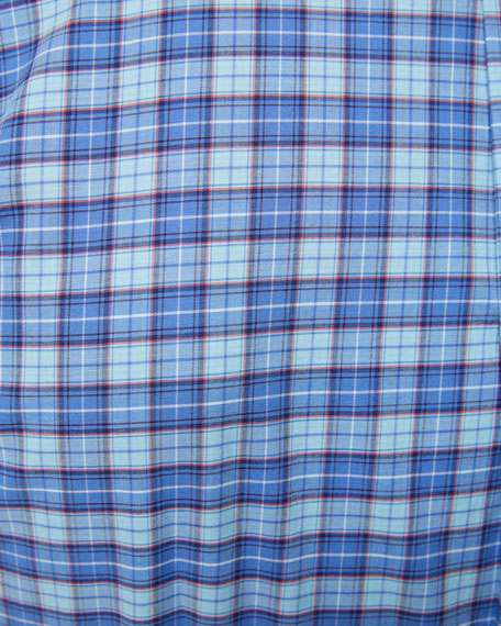 Image 4 of 4: Peter Millar Men's Finish Stretch Plaid Sport Shirt