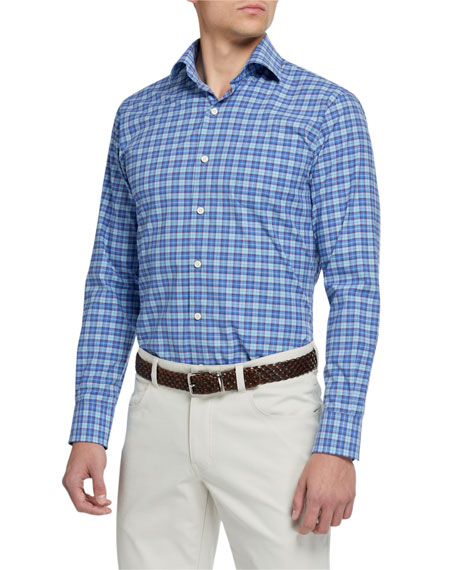 Image 1 of 4: Peter Millar Men's Finish Stretch Plaid Sport Shirt