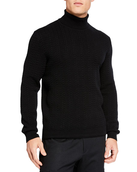 Ermenegildo Zegna Men's Cabled Cashmere Turtleneck Sweater