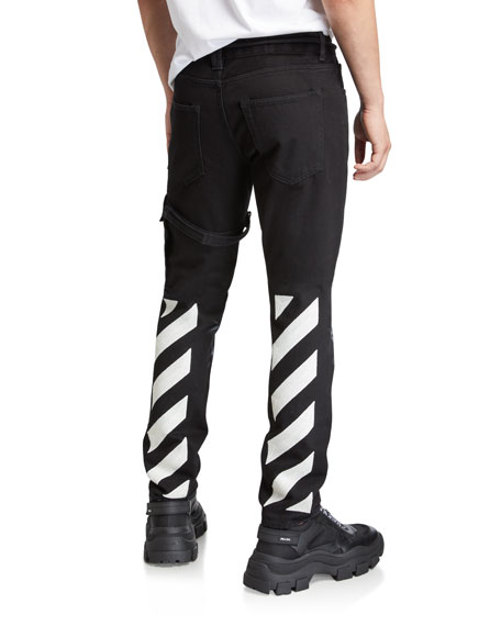 Off-White Men's Denim Pants with Bleached Knees & Diagonal Stripes