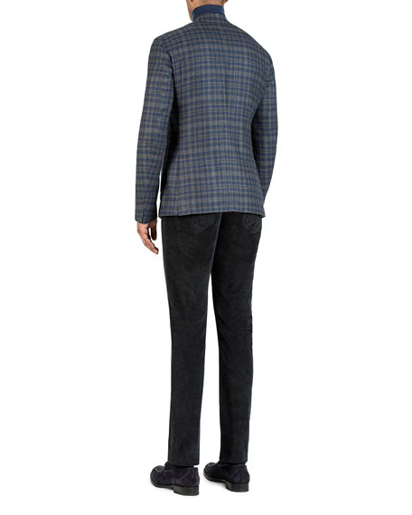 Image 3 of 5: Isaia Men's Wool-Blend Check Sport Jacket