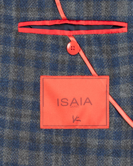 Image 4 of 5: Isaia Men's Wool-Blend Check Sport Jacket