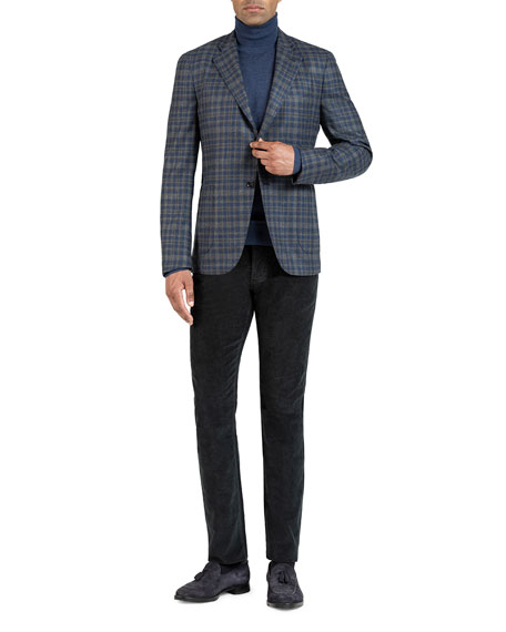 Image 1 of 5: Isaia Men's Wool-Blend Check Sport Jacket