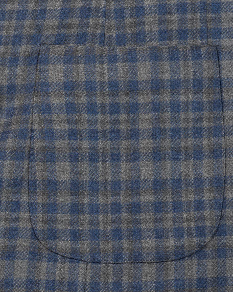 Image 5 of 5: Isaia Men's Wool-Blend Check Sport Jacket