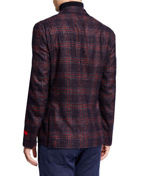 Image 2 of 3: Isaia Men's Plaid Alpaca-Blend Sport Jacket